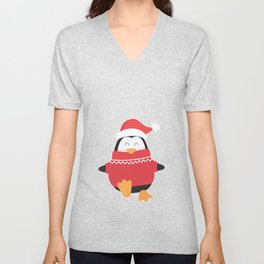 Little Penguin in Ugly Christmas Sweaters Unisex V-Neck