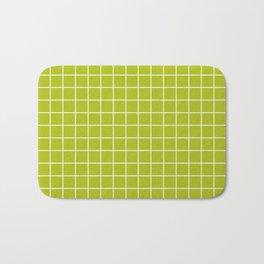 Acid Green - Green Color - White Lines Grid Pattern Bath Mat
