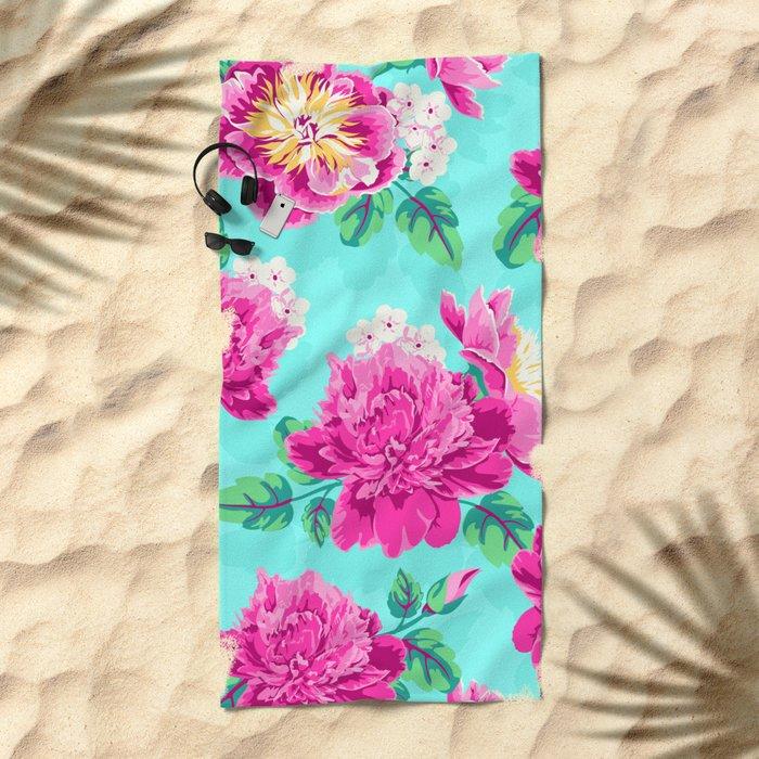 Bright Flowers Pretty Peonies Beach Towel