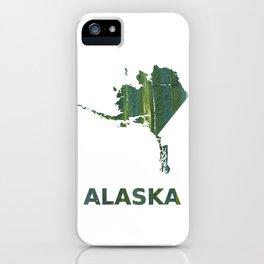 Alaska map outline Deep moss green watercolor iPhone Case