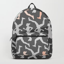Grey and Pastel Running Girl Pattern Backpack