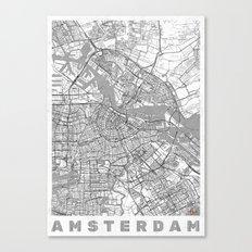 Amsterdam Map Line Canvas Print