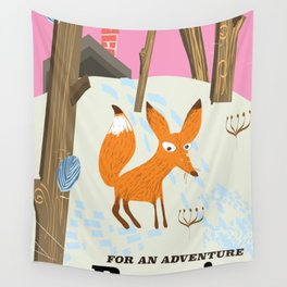 Russia Fox vintage travel poster Wall Tapestry