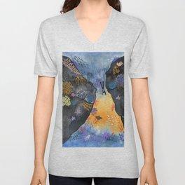 Journey of the deep sea dweller watercolor illustration Unisex V-Neck