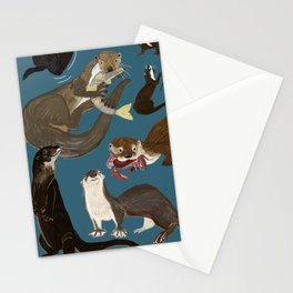 Otters of the World pattern in teal Stationery Cards