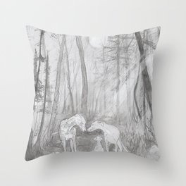 Shadow dogs at night Throw Pillow