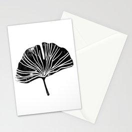 Gingko leaf linocut black and white minimal art print botanical study art Stationery Cards