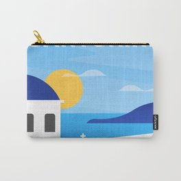 Santorini, Greece - retro travel poster #3 Carry-All Pouch