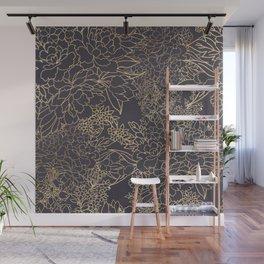 Luxury winter floral golden strokes doodles design Wall Mural