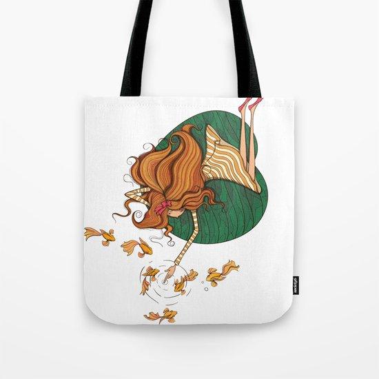 Girl and fish Tote Bag