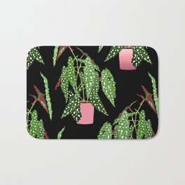 Polka Dot Begonia Potted Plants in Black Bath Mat