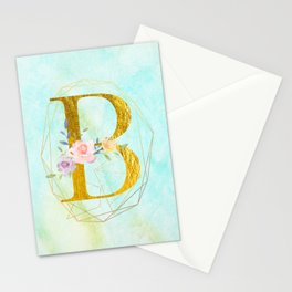 Gold Foil Alphabet Letter B Initials Monogram Frame with a Gold Geometric Wreath Stationery Cards