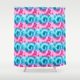 Summer Vibes Tie Dye Spirals in Pink Blue Shower Curtain