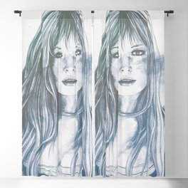 Monica Vitti street art sexy portrait   aqua Blackout Curtain