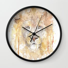 "Watercolor Painting of Picture ""African Lion"" Wall Clock"