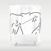 engineer Shower Curtains featuring measurement engineer cartographer geoinformation by Lineamentum