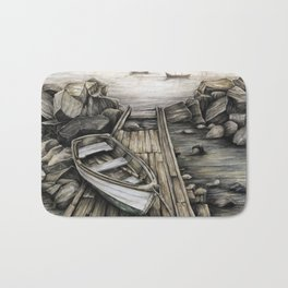 Old Boat on the Dock Bath Mat