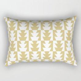 Art Deco Jagged Edge Pattern Gold Rectangular Pillow