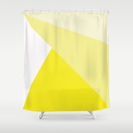 Simple Geometric Triangle Pattern - White on Yellow - Mix & Match with Simplicity of life Shower Curtain