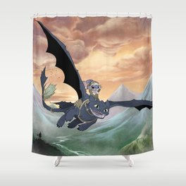 How to Train Your Stitch: Flying Lessons with Toothless Shower Curtain
