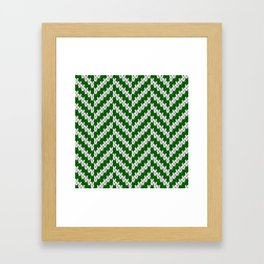 Realistic knitted herringbone pattern green Framed Art Print