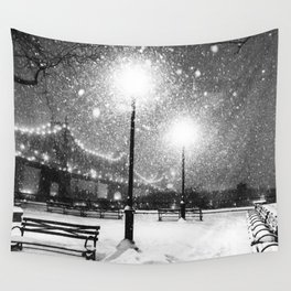 New York City Night Snow Wall Tapestry