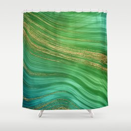 Green Mermaid Glamour Marble With Gold Veins Shower Curtain