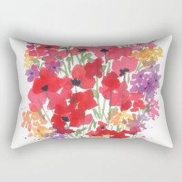 Little Red Poppy Patch Rectangular Pillow