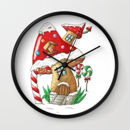 Mushroom gingerbread house Wall Clock