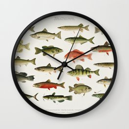 Illustrated North America Game Fish Identification Chart Wall Clock