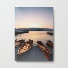 Rowing boats at Bowness, Windermere in the Lake District Metal Print