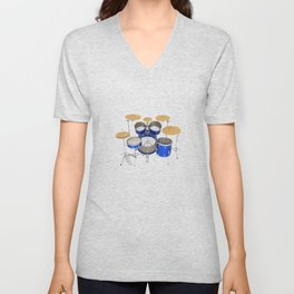 Blue Drum Kit Unisex V-Neck