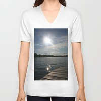 lake V-neck T-shirts featuring Lake by Lalateesa