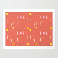pacman Art Prints featuring Pacman by CATHERINE DONOHUE