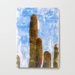 Tall Green Cactus Sketch - For Cactus Lovers Metal Print