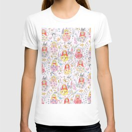Russian dolls and flowers_ink and watercolor 3 T-shirt