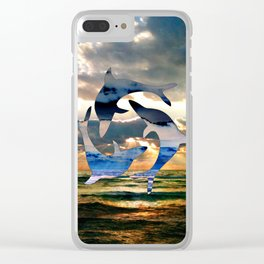 Florida Dolphin Sunset Clear iPhone Case