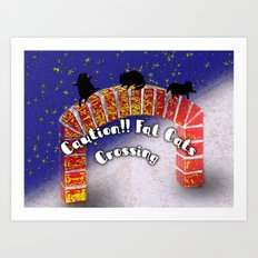 Fat Cats On the Archway Art Print