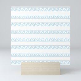 Mint blue Greek wave pattern Mini Art Print
