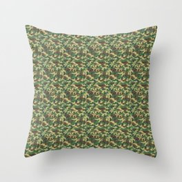 Military Camouflage Pattern - Brown Yellow Green Throw Pillow