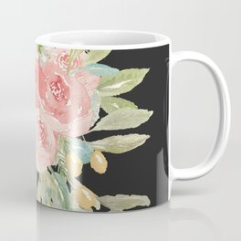 Loose Watercolor Rose Bouquet Dark Background Coffee Mug