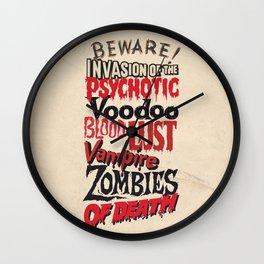 B Movie Beware Wall Clock