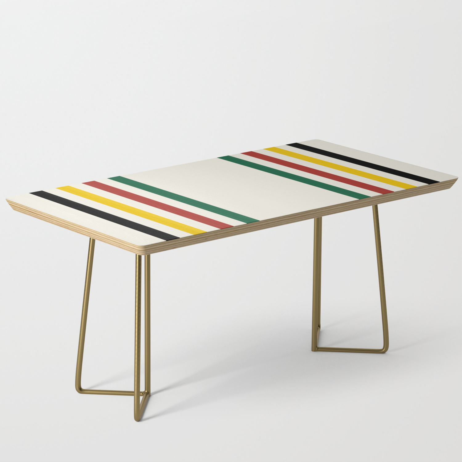 Rustic Lodge Stripes Black Yellow Red Green Coffee Table By Cafepretzel