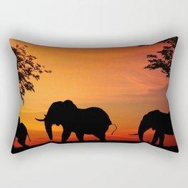 Elephants in the African sunset Rectangular Pillow