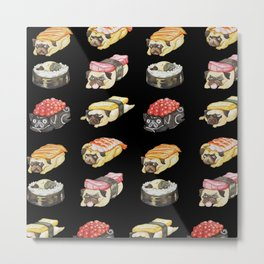 Sushi Pug Watercolor Metal Print