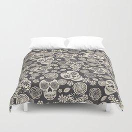 Sugar Skulls - Black & White Duvet Cover