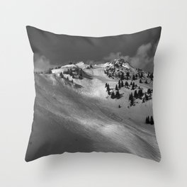 Ski Tracks; End of Winter Day's Skiing, Tirol, Austrian Alps black and white photography - photographs Throw Pillow