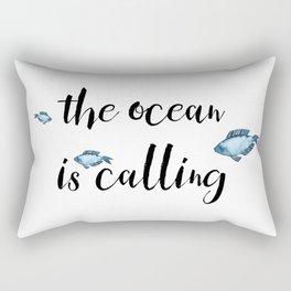The ocean is calling / blue fish watercolor Rectangular Pillow