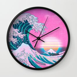 Vaporwave Aesthetic Great Wave Off Kanagawa Sunset Wall Clock