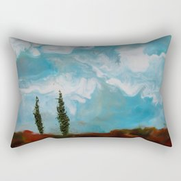 Cypress Trees encaustic wax painting by Seasons Kaz Sparks Rectangular Pillow
